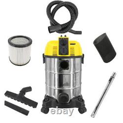 1600W 30ltr Wet Dry Vacuum Cleaner Blower Vac with Power Socket Stainless Steel