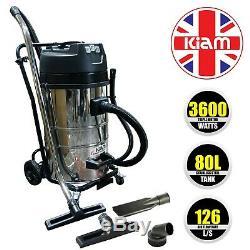 CARWASH 3 Motor VACUUM CLEANER Wet & Dry 3600W Hoover Kiam KV80-3 80L
