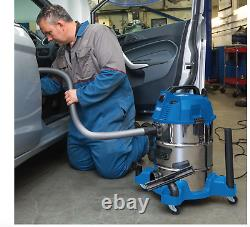 Draper 30L Wet & Dry Vacuum Cleaner Stainless Steel Tank Hover 1600W 5M Cord