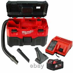 Milwaukee M18VC2 18V Wet/Dry Vacuum Cleaner with 1 x 5.0Ah Battery & Charger