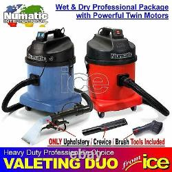 Numatic Car Valeting Wet & Dry Vacuum Duo Two Machines Package Upholstery Tools